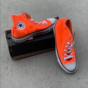 Neon orange high top Converse all star